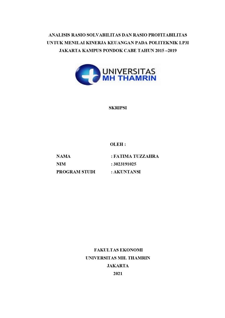 Analisis Rasio Solvabilitas Dan Rasio Profitabilitas Untuk Menilai Kinerja Keuangan Pada Politeknik Lp3i Jakarta Kampus Pondok Cabe Tahun 2015 2019